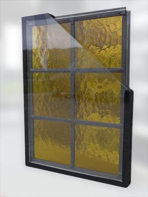 Glas in lood tussen twee isolerende ruiten